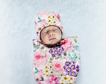 Baby Girls Swaddle set, Floral Swaddle Cocoon in SET, Sleep Sack, Take home outfit Girl