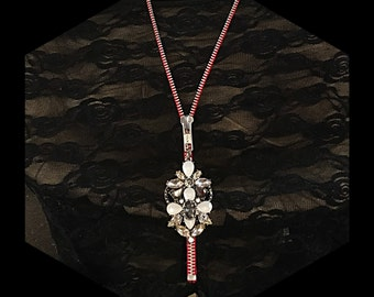 RED Stunningly outrageous  16 inch Lariat style Zipper Necklace Bling, WOW