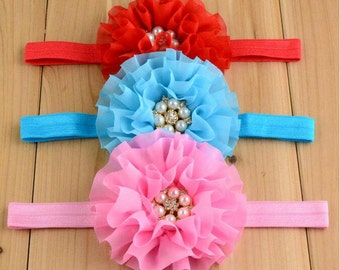 Pretty Multilayer Chiffon Flower Plus Pearl Drill Child Headband YTA77