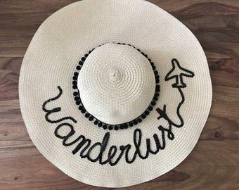 Wanderlust hat, floppy hat, customised hat, personalised hat, sun hat, summer hat, pom poms, sequins, straw hat, do not disturb hat