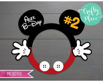 Mickey mouse photo booth cutout frame prop / Printed and ready to use / Personalized / Oversized frame