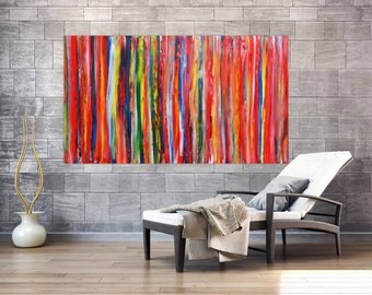 Original abstract artwork on canvas ready to hang 100x180cm #598