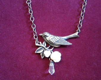 Sparrow On A Branch with Roses And Crystal Water Droplet Necklace