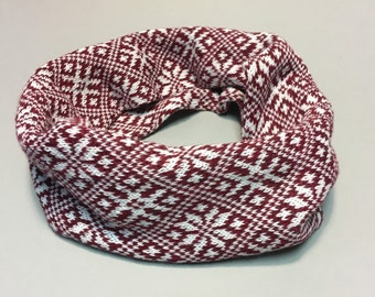 Scandinavian Latvian desing infinity scarf interesting folk pattern circle scarf wrap in double as a cow