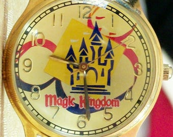 Disney LE Mickey Mouse Watch! New! Original Hardwood Case! With Tags! Only 3,000 Made! Icon Symbol and Castle On Dial!