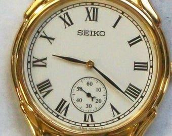New Mens Seiko Watch! Gold Bezel! Stunning! Retired!