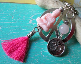 Jewelry * pendant with Buddha Peace OM tassel style Pearl * hippie * Asian * ethno