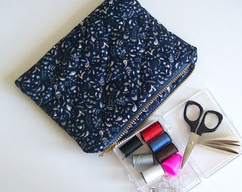 Sewing travel kit blue mini sewing bag quilted sewing bag