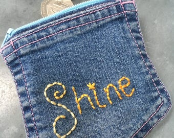 Blue Jeans purse, Festival accessories, Denim coin purse, Shine embroidered pouch, Cool upcycled wallet, Handstitched in the UK, Eco gifts