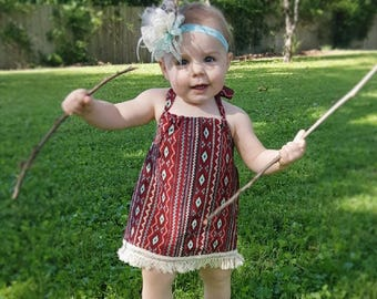 Baby Girl Boho Tribal Dress-Girls Boho Dress-Girls Baby Tribal Dress-Girls Burgundy Boho Halter Dress-Girls Baby Halter Dress 6mth to 4T