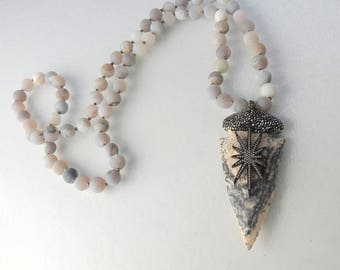 UNIQUE Raw Jasper Agate Arrowhead Pendant necklace with Cubic Zirconia hand knotted druzy agate Bead Necklace - gray pink or green necklace