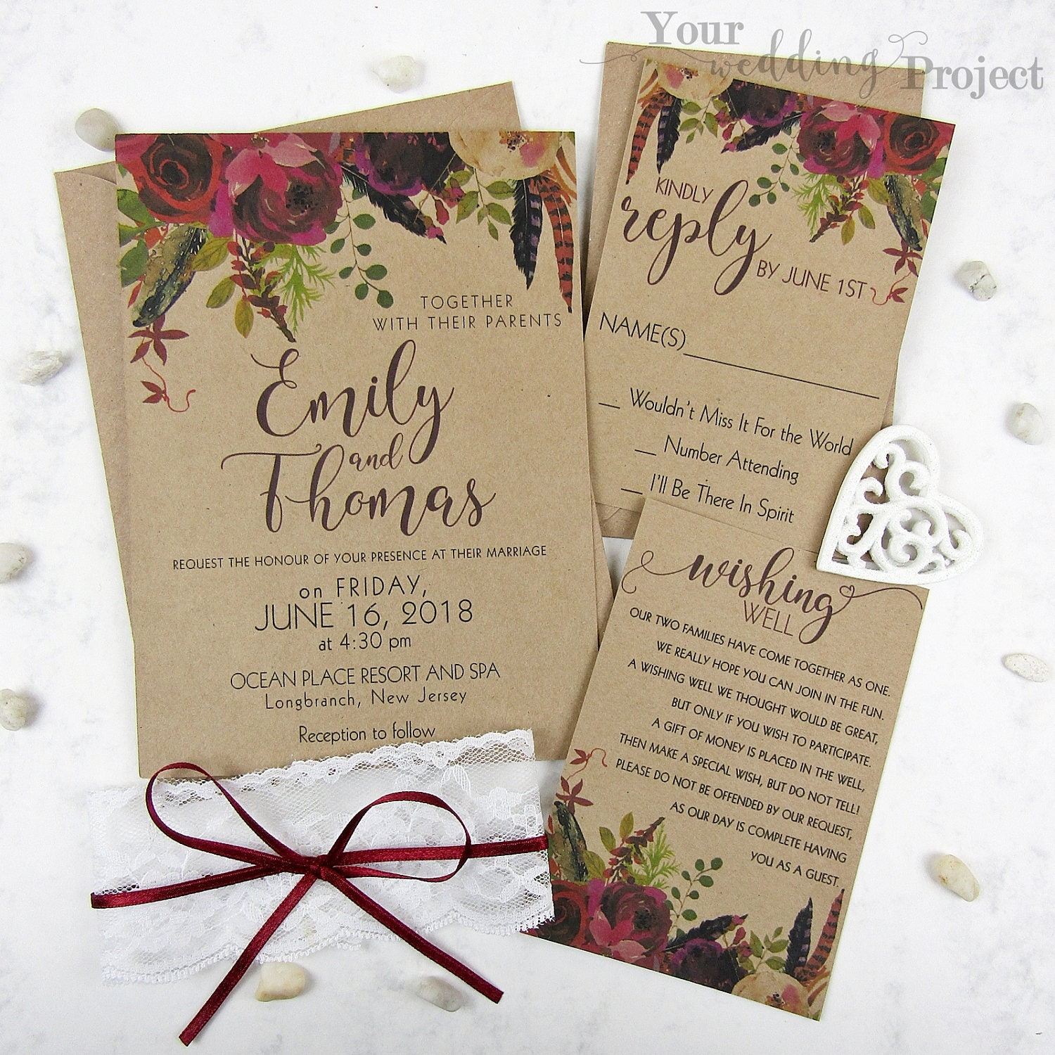 Burgundy Floral Wedding Invitation Set With Lace Rustic