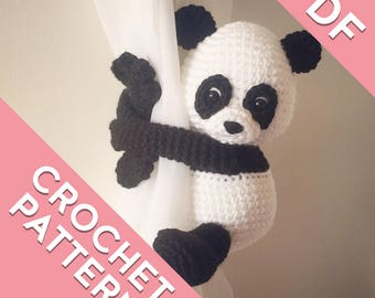 Panda curtain tie back, tieback, crochet pattern PDF instant download PATTERN