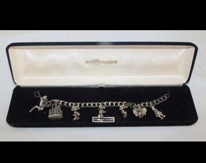 Storewide 25% Off SALE Vintage Sterling Silver Walt Disney's Magic Kingdom Charm Bracelet Featuring 7 Original Charms Of Mickey, Minnie, Tin