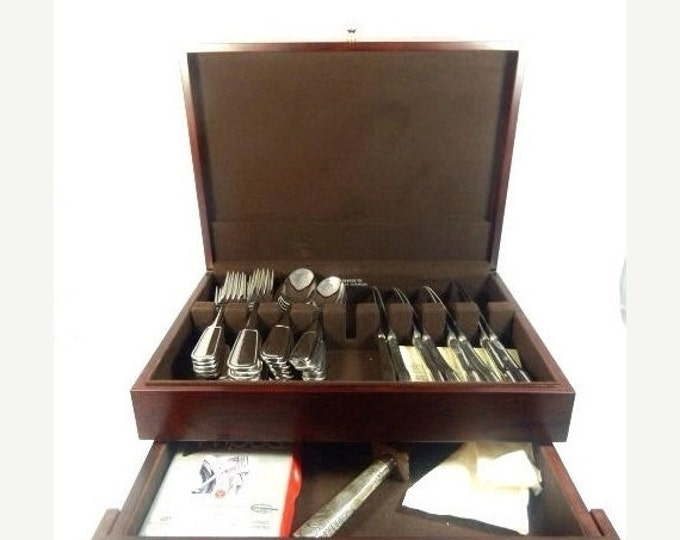 Storewide 25% Off SALE Vintage Ralph Lauren Pelham Stainless Flatware Service For 8 & Tarnish Resistant Storage Chest Featuring Sterling Sil