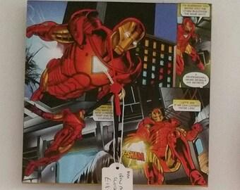 Iron Man Superhero Clock. Comic book Clock. Iron Man Clock. Decoupage Comic book Clock. Superhero Gift. Iron Man Comic