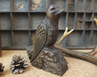 Hand carved wooden bird / Folk Art / Black Forest Style / Vintage