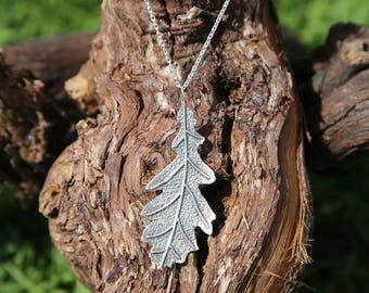 Sterling silver oak leaf pendant.