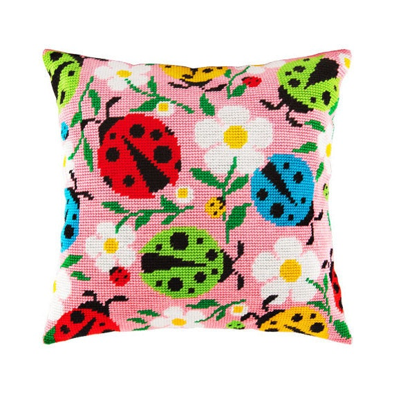 Cross Stitch Kit, Ladybugs in Flowers Pillow, Size 16