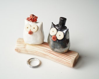 Wedding Owl Cake Topper, Owl cake topper, rustic wedding, ceramic owls