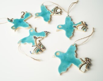5 ceramic Weddingg Favors, Wedding Ornament, Wedding Favors, Bird Ornament, Hanging Ornament, Wedding Party Decoration, Set of 5 Pieces