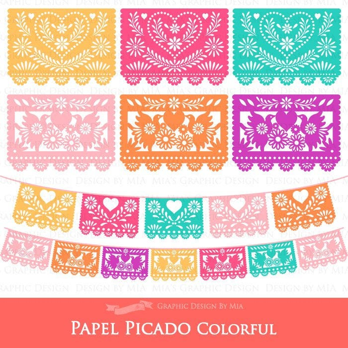 Heart And Bird 6 Colors Papel Picado Fiesta Bunting