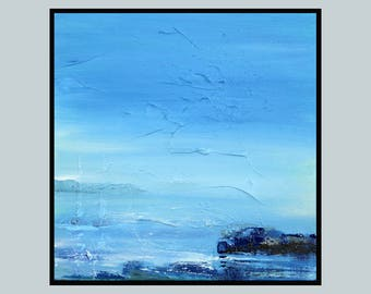 Square Painting Original Seascape Art Oil Modern Blue 12x12 inches on canvas