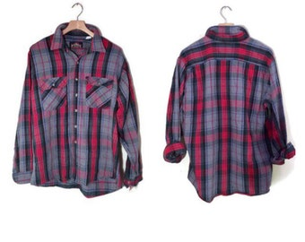 Vintage Mens Flannel Shirt Oversized plaid button down shirt 1970s Thick flannel shirt HIPSTER clothing red blue shirt mens XL