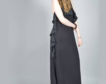 Black Cocktail Dress, Formal Dress, Summer Dress, Goth Dress, Black Long Dress, Extravagant Dress, Steampunk Dress, Loose Dress, Party Dress