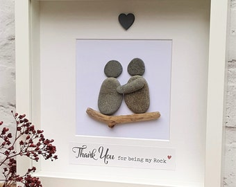 Thank you for being my Rock - Cornish Pebble Art Picture