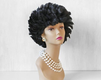 60s black feathers hat / feathered hat / feather wig / formal black hat / black party hat / oversized fluff feather hat