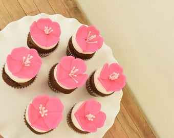 Hibiscus flower Cupcake Toppers