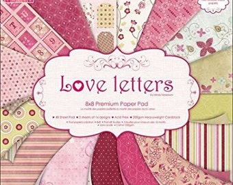 love letters by first edition scrapbook paper pad 8x8 8 inch heavyweight cardstock valentine designs glitter effects double sided