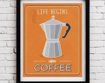 Orange Grey Retro Coffee Kitchen decor, Kitchen wall art, Kitchen prints, Coffee print, Retro decor, Kitchen, Coffee Poster, Orange, Grey