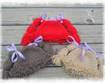 Cabbage Patch Hat, Cabbage Patch Wig, Cabbage Patch Doll, Blonde Cabbage Patch Hat, Red Cabbage Patch Hat, Brown Cabbage Patch Hat