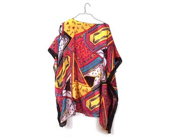 Colorful Buckle Poncho