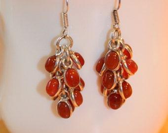Carnelian Red Cluster Earrings Vintage Boho Style