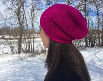 Crochet Slouchy Hat | Sparkle Fuchsia | iHat v5.0