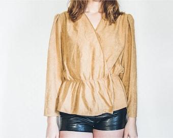 Cream Peplum Jacket, 80s Vintage Jacket, 80s Peplum Jacket, Beige Jacket, Vintage Peplum Jacket, Size Medium Jacket, Tan Jacket