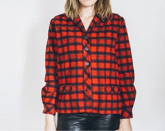 50s 60s Red Plaid Jacket, Vintage Jacket, Wool Jacket, Checkered Jacket, Button Up Jacket, Red jacket, Medium Jacket, Vintage Plaid Jacket