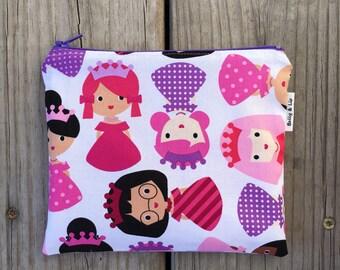 Princess Reusable Snack Bag, Sandwich Bag, Girls Snack Bag, Reusable Sandwich Bag, Travel Bag, Pacifier Pouch, Pet Treat Pouch