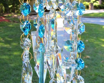 Teal Crystal Wind Chime, Crystal Sun Catcher,  Glass wind Chime, Gift for Her, Garden Décor, Crystal Gift,  MWC 121