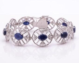 Cubic Zirconia, Natural Blue Sapphire Bracelet , Sapphire Bracelet, Gemstone Bracelet, 925 Sterling Silver Bracelet, Prong Set, gift for her