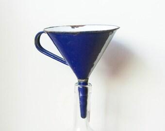 Vintage enameled blue funnel, funnel blue enamel, vintage enameled metal funnel, funnel.
