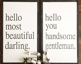 Hello Darling | hello handsome | most beautiful darling custom wood sign set | farmhouse wood frame sign
