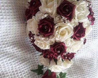Foam rose teardrop bouquet, available most colours.