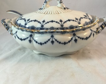 Antique Blue And White Tureen With Ladle By Losolware Of England