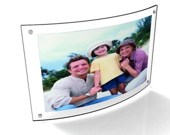 "Fixture Displays® Curved Picture Frame, Clear Acrylic Modern Design 5 x 7"" 10854"