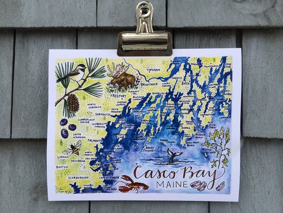 Casco Bay Illustrated Map Print