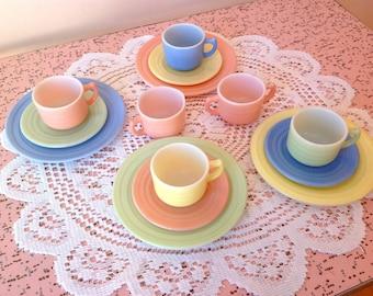 Vintage Hazel Atlas child dishes, Little Hostess pastel 14 pieces play dish